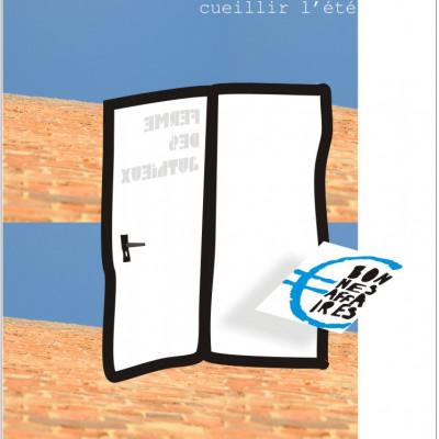 Porte ouverte sur la ferme cueillette des authieux en été-graphisme