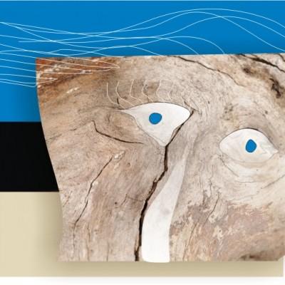 tronc de pommier ,tête de bois graphisme ferme des authieux