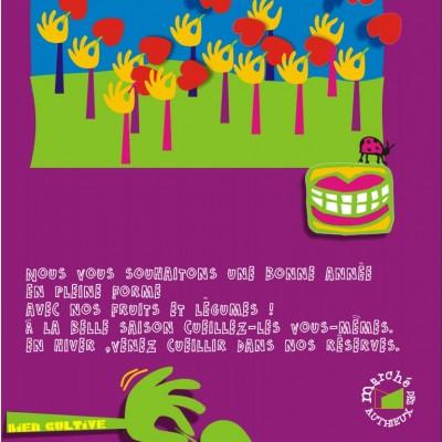 Bonne année 2011 avec les fruits et légumes de la ferme cueillette des authieux graphisme